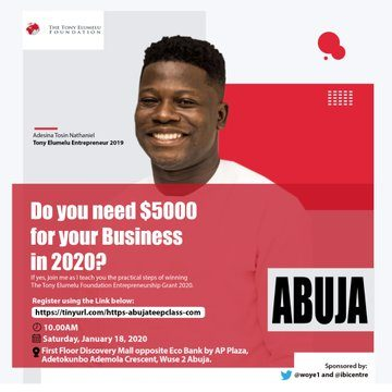 FREE TONY ELUMELU ENTREPRENEURSHIP PROGRAM APPLICATION TRAINING CLASS ABUJA