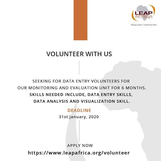 LEAP AFRICA CALL FOR VOLUNTEERS