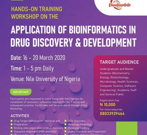 HANDS ON TRAINING WORKSHOP ON THE APPLICATION OF BIOINFORMATICS IN DRUG DISCOVERY AND DEVELOPMENT