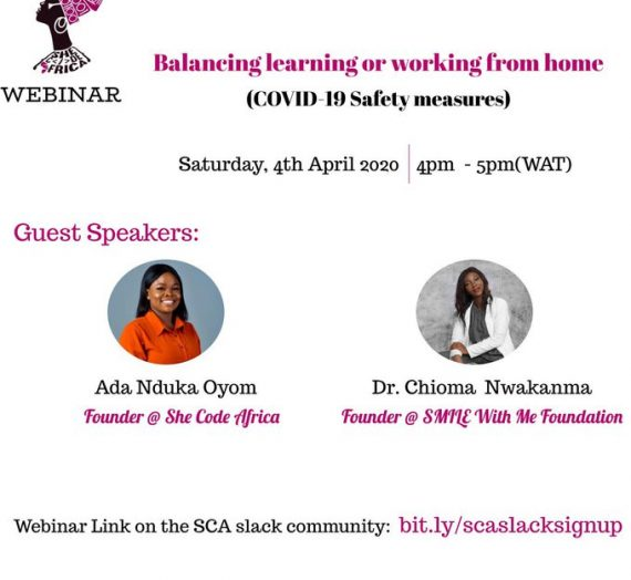 SHE CODES AFRICA WEBINAR ON BALANCING LEARNING OR WORKING FROM HOME