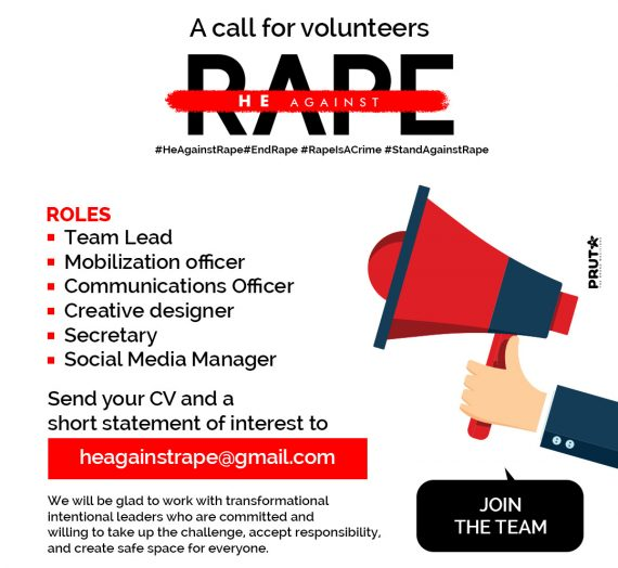CALL FOR VOLUNTEERS HE AGAINST RAPE