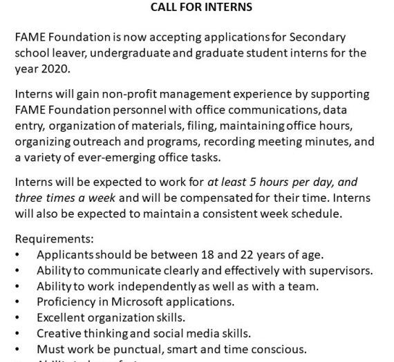 FAME FOUNDATION CALL FOR INTERNS