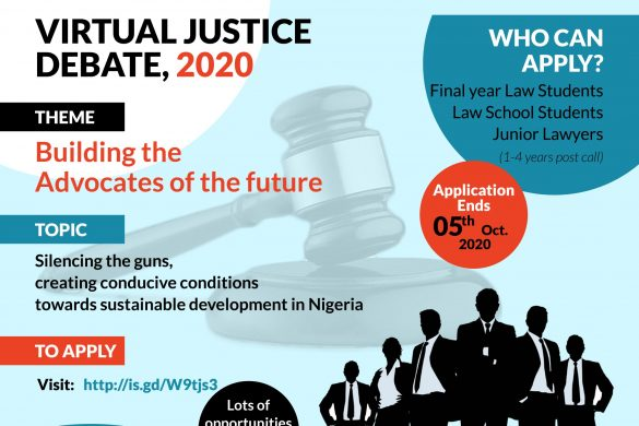 CALL FOR APPLICATION VIRTUAL JUSTICE DEBATE 2020