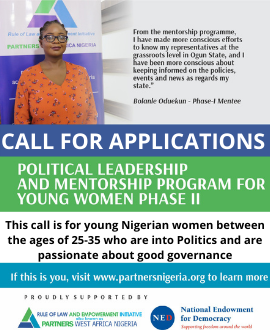 CALL FOR APPLICATIONS POLITICAL LEADERSHIP AND MENTORSHIP PROGRAM FOR YOUNG WOMEN PHASE II