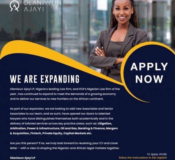 Call for application for Lawyers at Olaniyan Ajayi